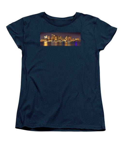 Boston Skyline At Night Panorama Women's T-Shirt (Standard Cut) by Jon Holiday