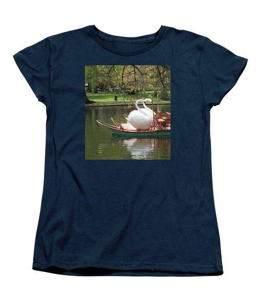 Women's T-Shirt (Standard Cut) featuring the photograph Boston Swan Boats by Barbara McDevitt