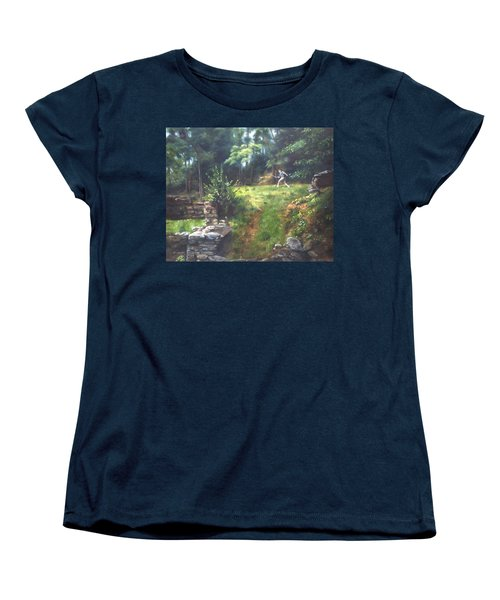 Women's T-Shirt (Standard Cut) featuring the painting Bouts Of Fantasy by Lori Brackett