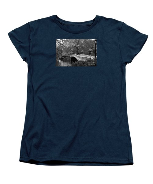 Bow Bridge Nyc In Black And White Women's T-Shirt (Standard Cut) by Christiane Schulze Art And Photography