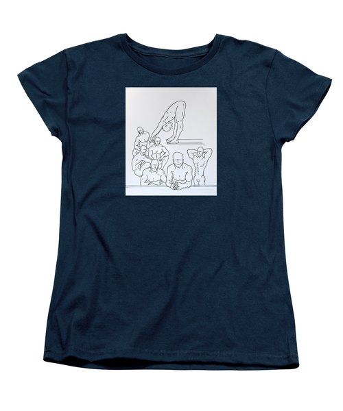 Women's T-Shirt (Standard Cut) featuring the drawing Boys At Play #5 by Thomas Gronowski