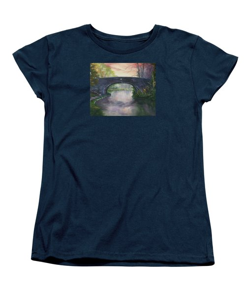Women's T-Shirt (Standard Cut) featuring the painting Bridge 91 At Fradley Canal Staffordshire Uk by Jean Walker