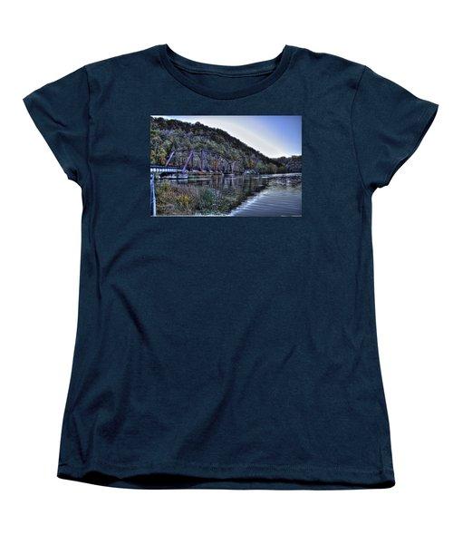 Bridge On A Lake Women's T-Shirt (Standard Cut) by Jonny D