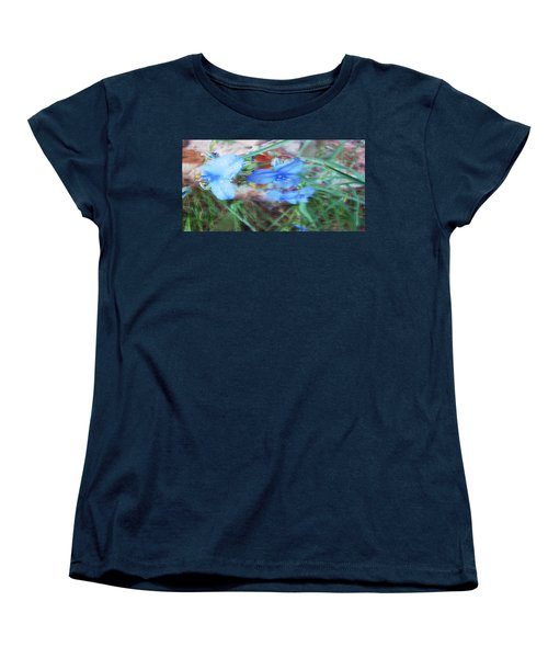 Women's T-Shirt (Standard Cut) featuring the photograph Brilliant Blue Flowers by Cathy Anderson