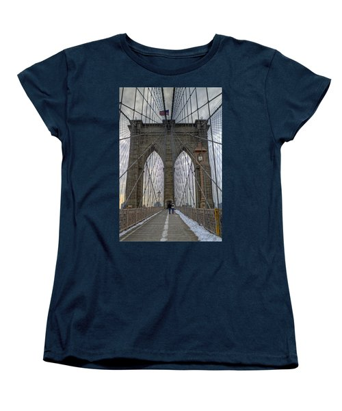 Women's T-Shirt (Standard Cut) featuring the photograph Brooklyn Bridge by Jerry Gammon