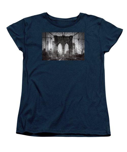 Brooklyn Bridge Snow Day Women's T-Shirt (Standard Cut) by Chris Lord