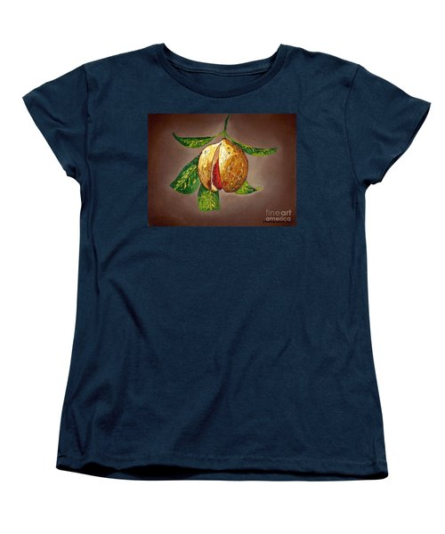 Women's T-Shirt (Standard Cut) featuring the painting Brown Glow Nutmeg by Laura Forde