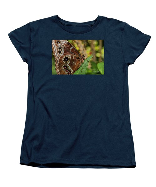 Women's T-Shirt (Standard Cut) featuring the photograph Blue Morpho Butterfly by Olga Hamilton