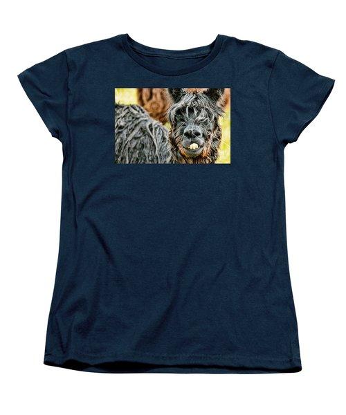 Women's T-Shirt (Standard Cut) featuring the photograph Bucky The Alpaca by David Lawson