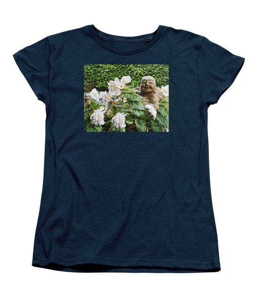 Budda And Begonias Women's T-Shirt (Standard Cut) by Denise Romano