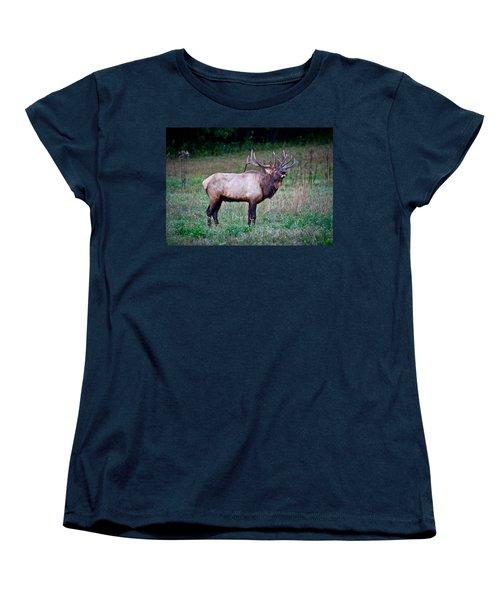 Women's T-Shirt (Standard Cut) featuring the photograph Bugle Solo From Bull Elk by John Haldane