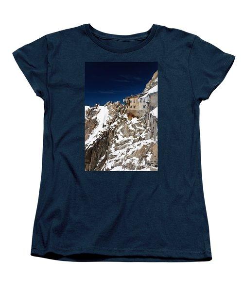 Women's T-Shirt (Standard Cut) featuring the photograph building in Aiguille du Midi - Mont Blanc by Antonio Scarpi