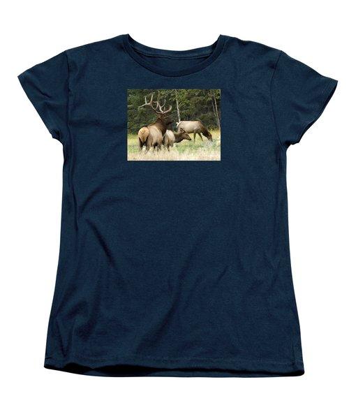 Bull Elk With His Harem Women's T-Shirt (Standard Cut) by Bob Christopher