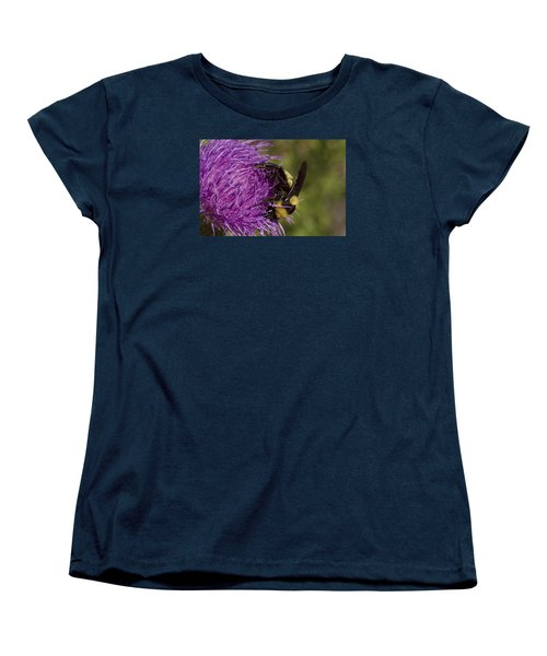 Bumble Bee On Thistle Women's T-Shirt (Standard Cut) by Shelly Gunderson