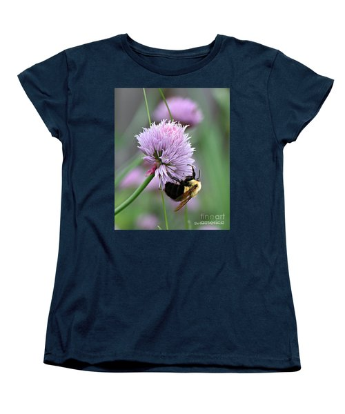 Women's T-Shirt (Standard Cut) featuring the photograph Bumblebee On Clover by Barbara McMahon