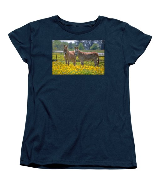 Burros In The Buttercups Women's T-Shirt (Standard Cut) by Suzanne Stout