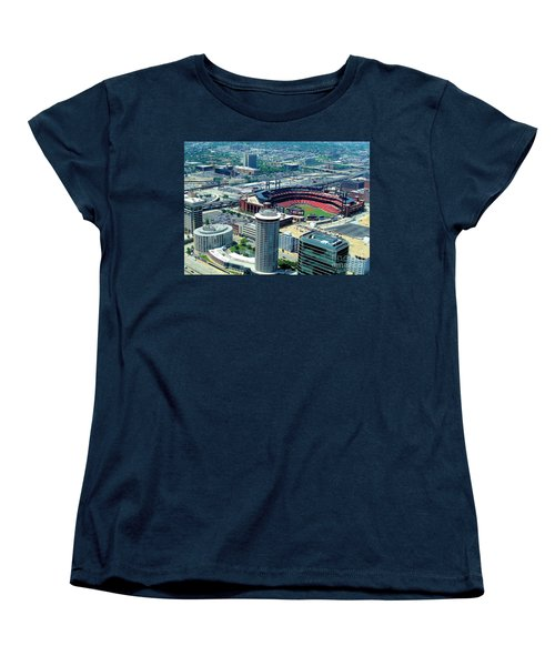 Busch Stadium From The Top Of The Arch Women's T-Shirt (Standard Cut) by Janette Boyd