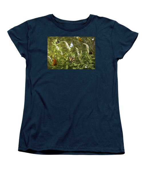Butterflies In Golden Garden Women's T-Shirt (Standard Cut) by Belinda Greb