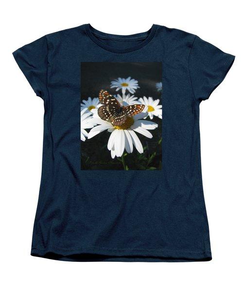 Butterfly And Shasta Daisy - My Spring Garden Women's T-Shirt (Standard Cut) by Brooks Garten Hauschild