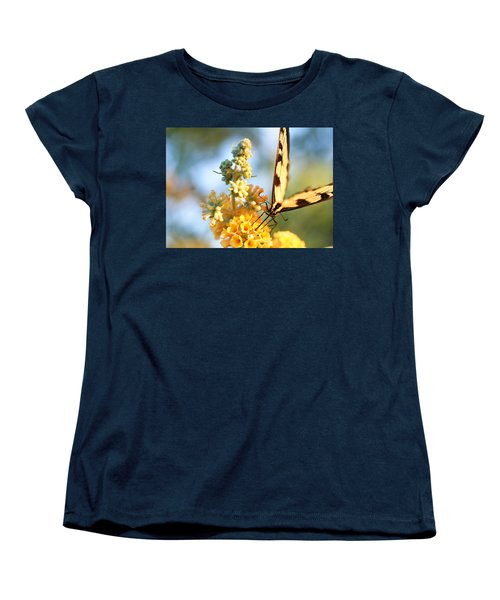 Women's T-Shirt (Standard Cut) featuring the photograph Butterfly At Work by Trina  Ansel