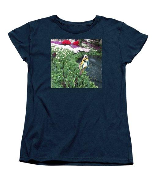 Women's T-Shirt (Standard Cut) featuring the photograph Butterfly Garden Ladybug Flowers Green Theme by Navin Joshi