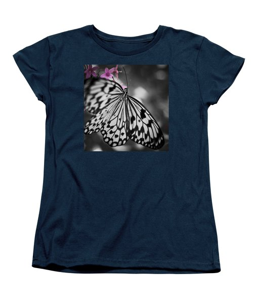 Butterfly On Pink Flowers Women's T-Shirt (Standard Cut) by Bradley R Youngberg