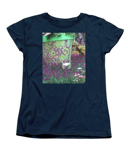 Women's T-Shirt (Standard Cut) featuring the photograph Butterfly Park Garden Painted Green Theme by Navin Joshi