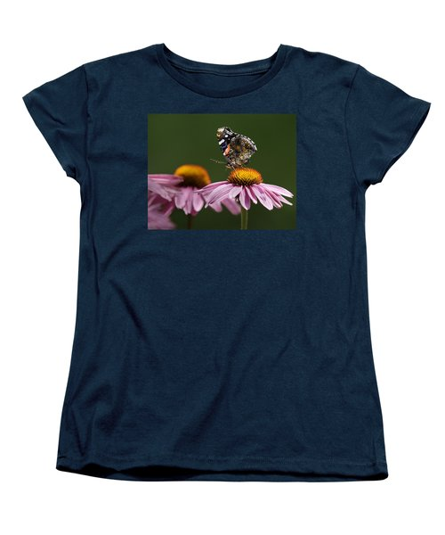 Women's T-Shirt (Standard Cut) featuring the photograph Butterfly Red Admiral On Echinacea by Peter v Quenter