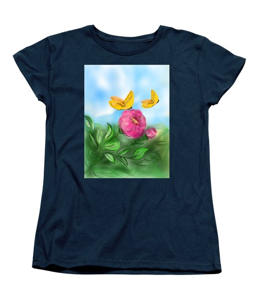 Women's T-Shirt (Standard Cut) featuring the digital art Butterfly Twins by Christine Fournier