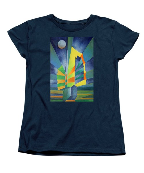 Women's T-Shirt (Standard Cut) featuring the painting By The Light Of The Silvery Moon by Tracey Harrington-Simpson