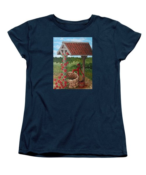Women's T-Shirt (Standard Cut) featuring the painting By The Water Pump by Katherine Young-Beck