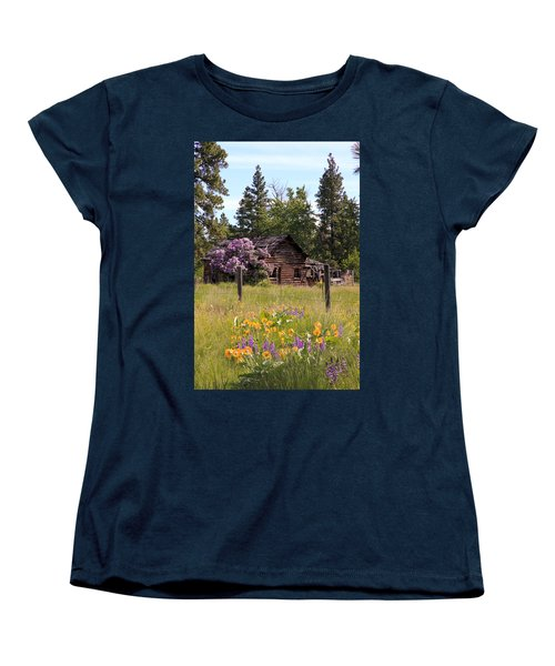 Women's T-Shirt (Standard Cut) featuring the photograph Cabin And Wildflowers by Athena Mckinzie
