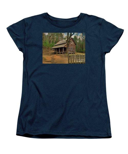 Cades Cove Cabin Women's T-Shirt (Standard Cut) by Janice Spivey