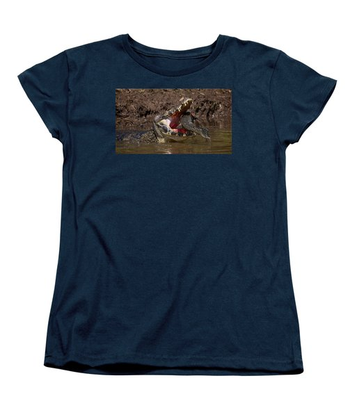 Caiman Vs Catfish 1 Women's T-Shirt (Standard Cut) by David Beebe
