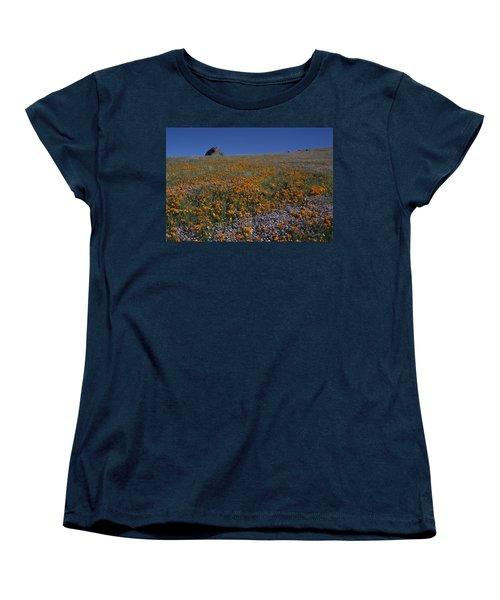 California Gold Poppies And Baby Blue Eyes Women's T-Shirt (Standard Cut) by Susan Rovira