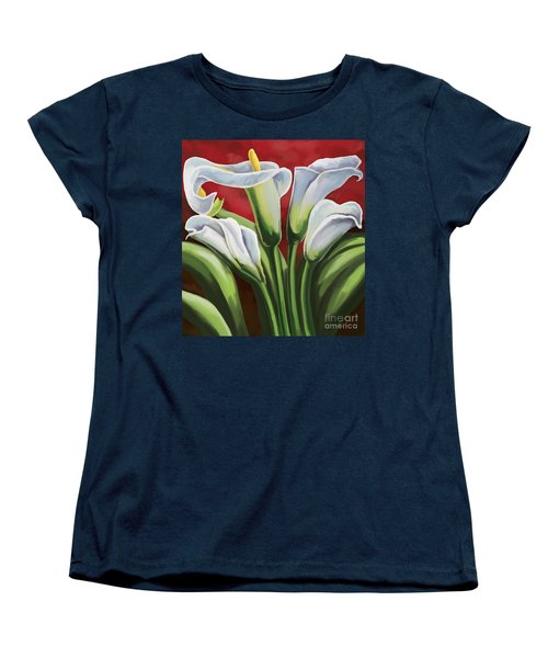 Women's T-Shirt (Standard Cut) featuring the painting Calla Lilies  by Tim Gilliland