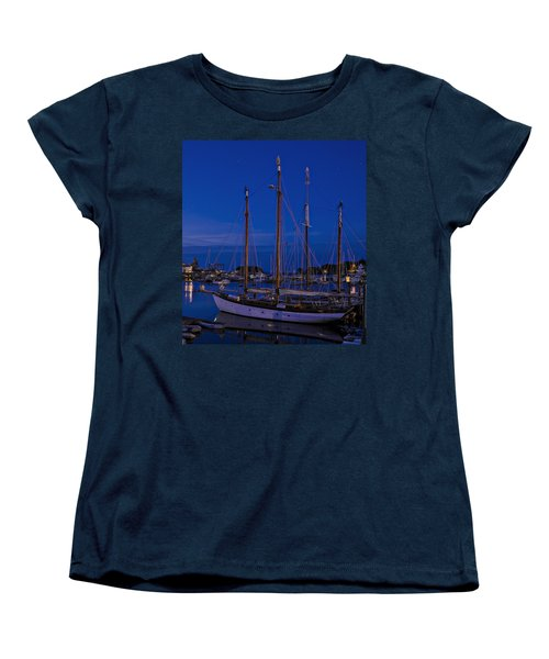 Women's T-Shirt (Standard Cut) featuring the photograph Camden Harbor Maine At 4am by Marty Saccone