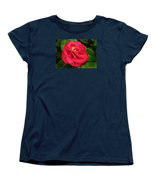 Women's T-Shirt (Standard Cut) featuring the photograph Camellia Japonica ' Dixie Knight ' by William Tanneberger