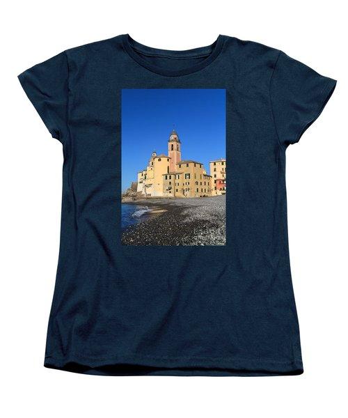Women's T-Shirt (Standard Cut) featuring the photograph Camogli Seaside And Church by Antonio Scarpi