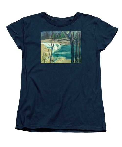 Women's T-Shirt (Standard Cut) featuring the painting Canajoharie Creek Near Village by Betty Pieper