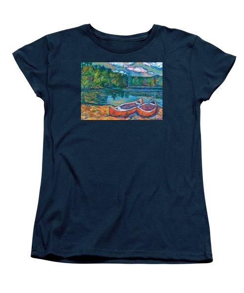 Canoes At Mountain Lake Sketch Women's T-Shirt (Standard Cut) by Kendall Kessler
