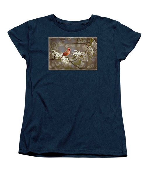 Cardinal And Blossoms Women's T-Shirt (Standard Cut) by Bonnie Willis