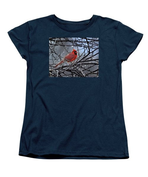 Women's T-Shirt (Standard Cut) featuring the photograph Cardinal In The Rain   by Nava Thompson
