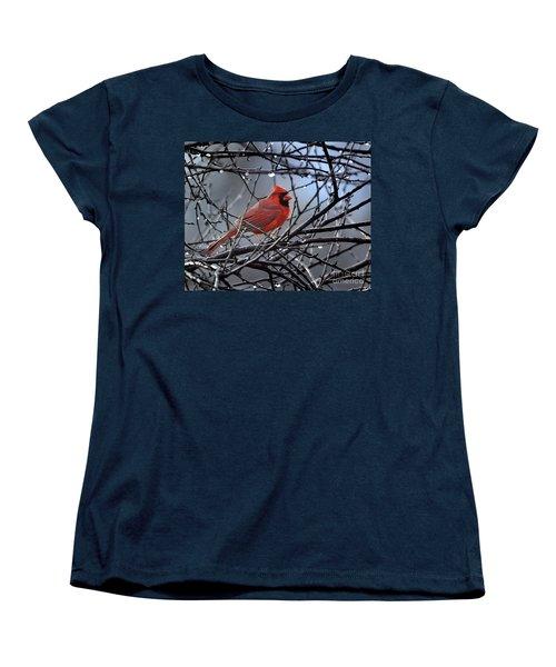 Cardinal In The Rain   Women's T-Shirt (Standard Cut) by Nava Thompson