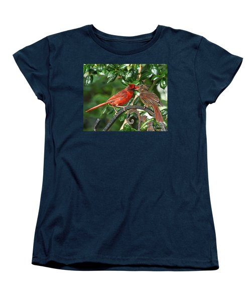 Cardinal Bird Valentines Love  Women's T-Shirt (Standard Cut) by Luana K Perez