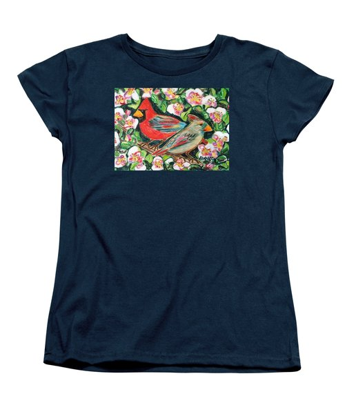 Women's T-Shirt (Standard Cut) featuring the painting Cardinals In An Apple Tree by Diane Pape