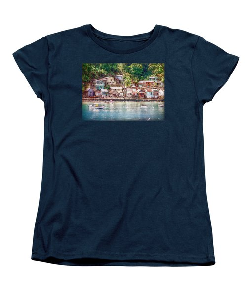 Caribbean Village Women's T-Shirt (Standard Cut) by Hanny Heim