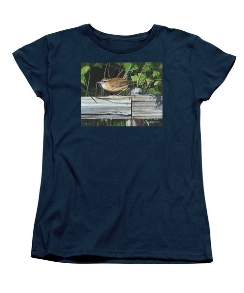 Women's T-Shirt (Standard Cut) featuring the painting Carolina Wren by Mike Brown