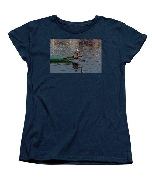Cartoon - Man Plying A Wooden Boat On The Dal Lake Women's T-Shirt (Standard Cut) by Ashish Agarwal