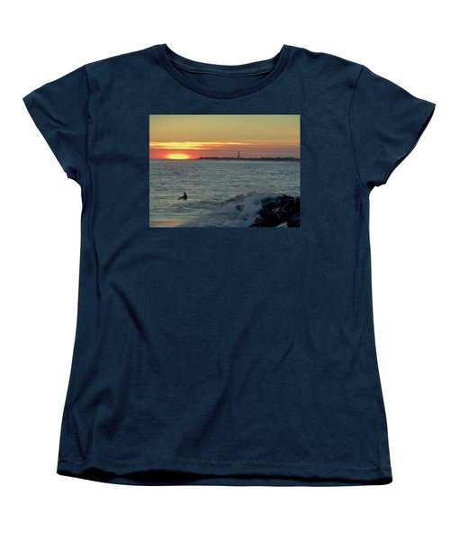 Women's T-Shirt (Standard Cut) featuring the photograph Catching A Wave At Sunset by Ed Sweeney